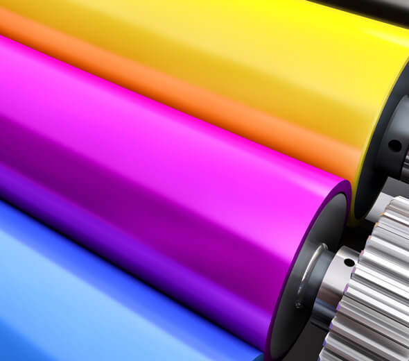 Multi Colored Ink Rollers Cyan Magenta Yellow