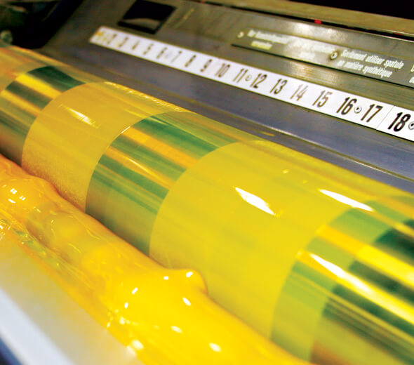 Yellow ink on press