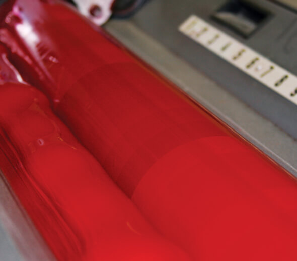 Red ink on press rolls